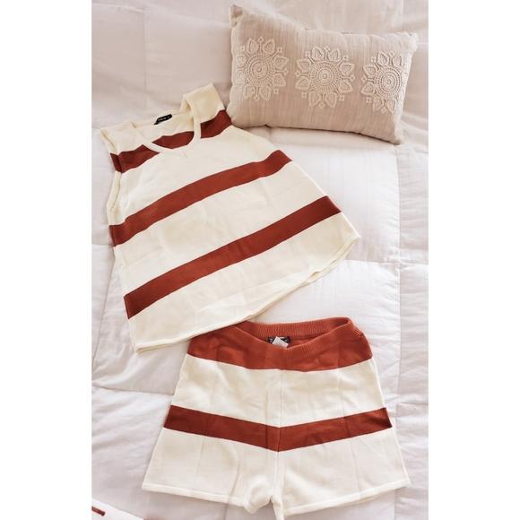 Striped knit two piece set